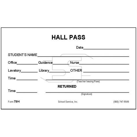 hallway pass 79h hall pass padded forms