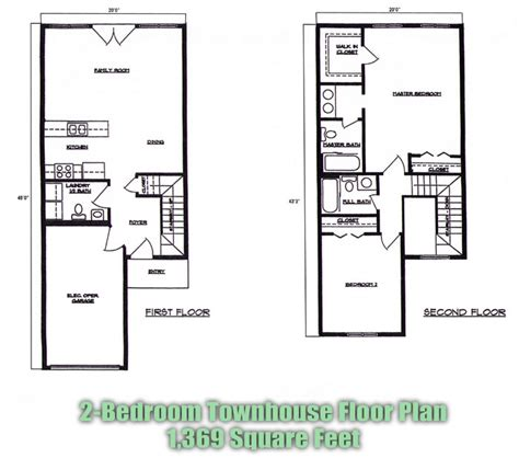 2 bedroom townhome town house floor plans find house plans