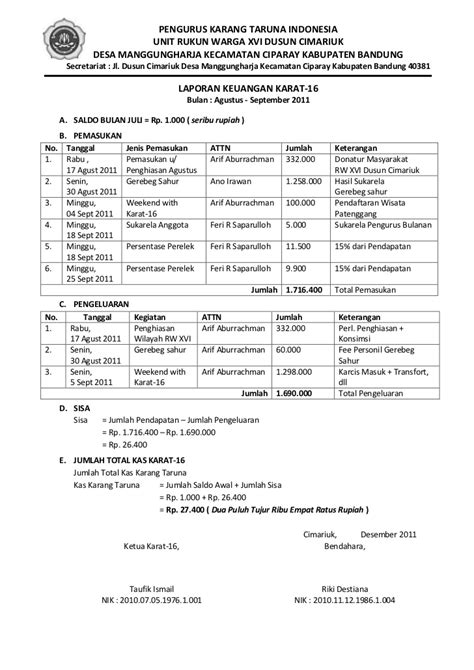 format buku kas karang taruna laporan keuangan agustus 5 desember