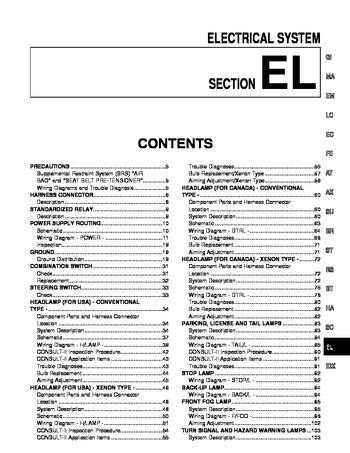 download car manuals pdf free 1997 infiniti i windshield wipe control download 2001 infiniti i30 electrical system section el pdf manual 550 pages