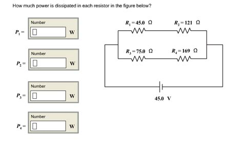 power dissipated by external resistor how much power is dissipated in each resistor in t chegg