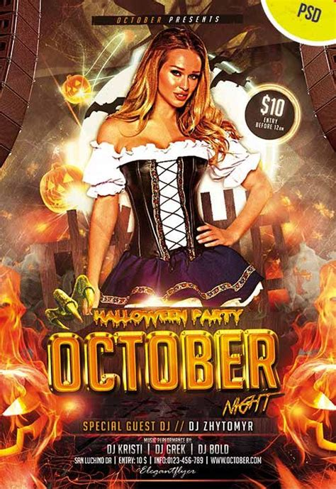 costume flyer templates october free flyer psd template http freepsdflyer october free