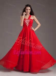 red empire one shoulder long chiffon cheap evening dresses