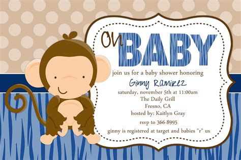 free monkey baby shower invitation templates baby monkey baby shower invitation by beenesprout on etsy