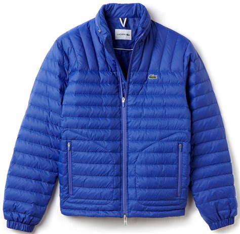 lacoste jacket lightweight quilted puffer steamer blue