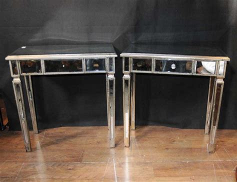 mirrored side table pair deco mirror side tables mirrored occasional table