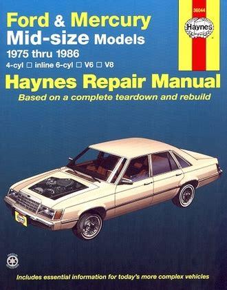 car repair manuals download 1986 mercury cougar interior lighting repair manual torino ltd ranchero cougar versailles 1975 1986