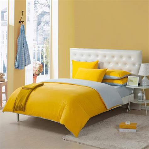 bright lemon yellow  grey solid pure color simply modern chic full queen size kids bedroom