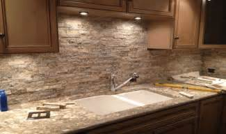 rock tile backsplash stacked backsplash kitchens
