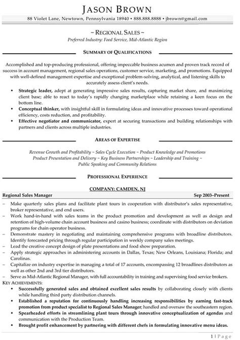Regional Sales Sle Resume by Sales Resume Exles Resume Professional Writers