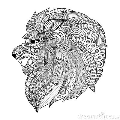detailed lion coloring pages detailed zentangle stylized lion for t shirt graphic