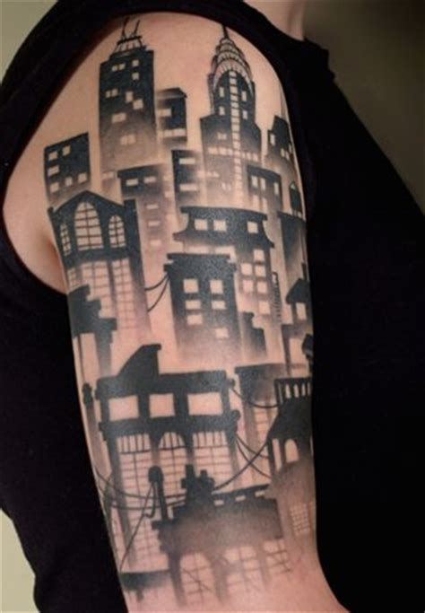 building tattoos 2h city skyline tattoos portland