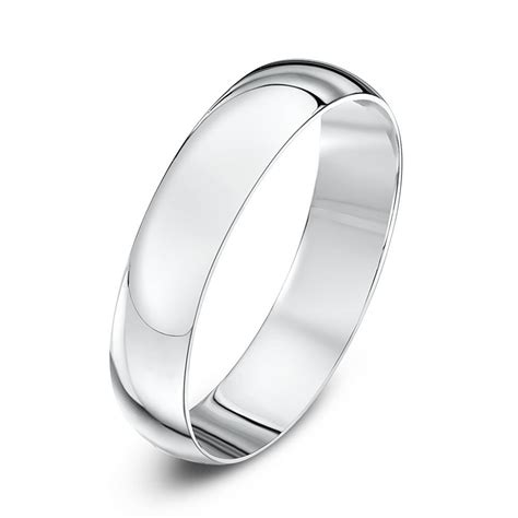 9kt white gold light d 4mm wedding ring