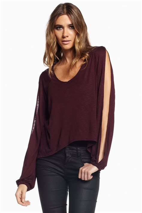 Sleeve Top elan slit sleeve top from branford by polished shoptiques