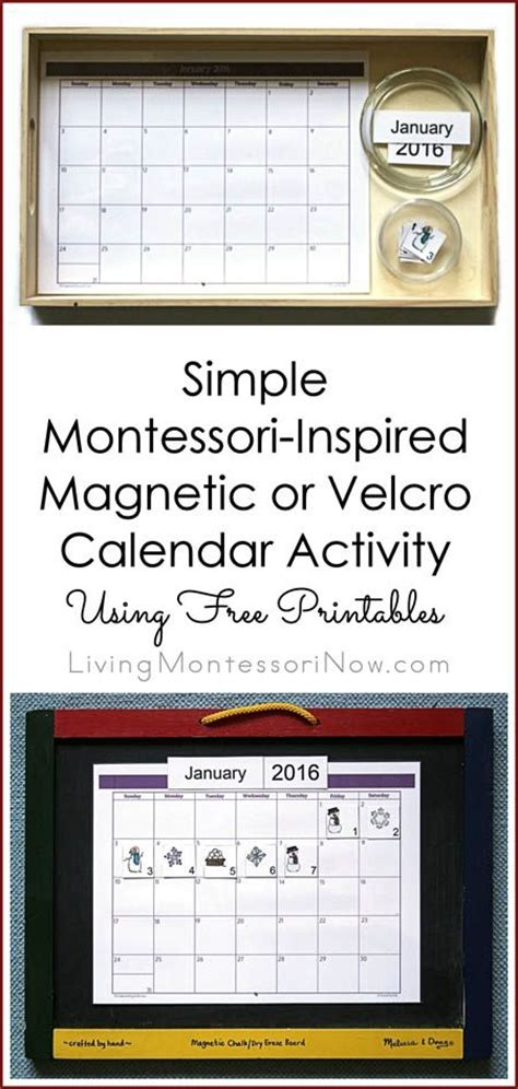 printable montessori calendar simple magnetic or velcro calendar activity using free