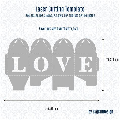 Wedding Box Template by Wedding Favor Box Template Laser Cutting Commercial
