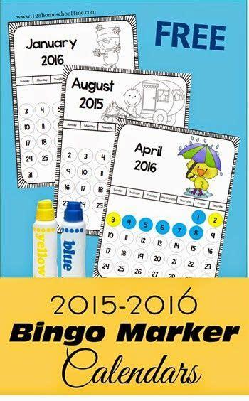 Bingo Calendar Free 2015 2016 Bingo Marker Calendars For Preschool
