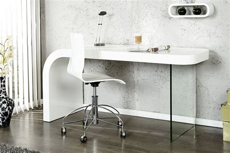 Bureau Design Blanc Laque Et Verre Timmen Bureaux Design