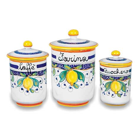 italian kitchen canisters alcantara canisters italian pottery outlet