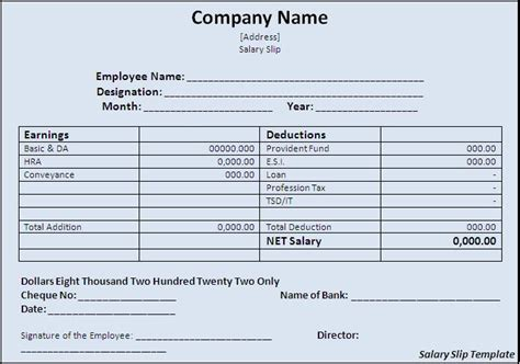free salary slip template salary slip template free formats excel word