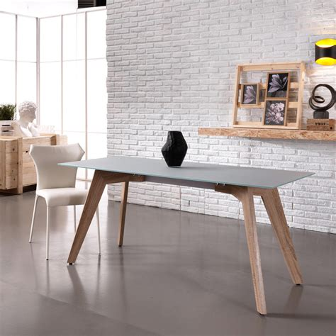 tavolo in vetro moderno tavolo da pranzo moderno in vetro e legno mdf amos