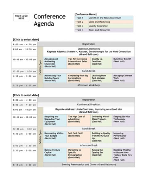 15 Meeting Agenda Templates Excel Pdf Formats Conference Program Design Template