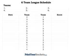 6 Team Draw Template by Printable 6 Team League Schedule
