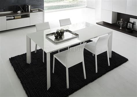 Modern White Glass Dining Table White Lacquered Glass Top Modern Dining Table W Optional Chairs