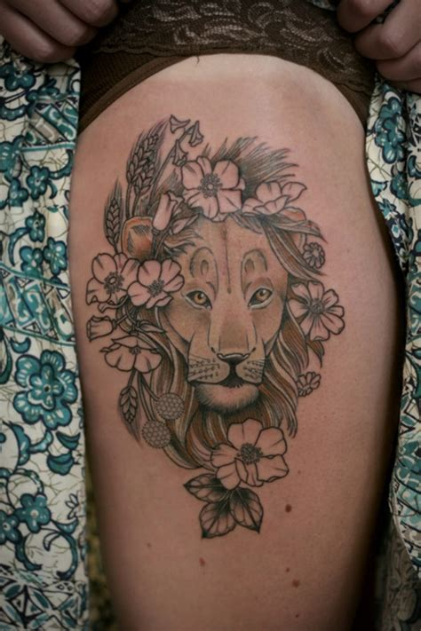 lion flower tattoo 100 mysterious ideas to ink with