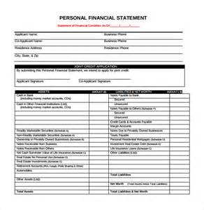 Financial Statement Template Pdf by Sle Personal Financial Statement Pdf Drugerreport732