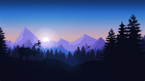 minimalist mountains mountains forest animals firewatch minimalism wallpapers