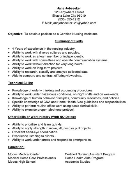 resume exle 30 cna resumes with no experience cna