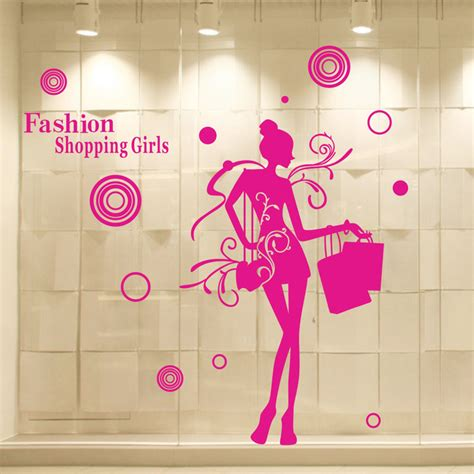 wall sticker shopping aliexpress buy clothes shop vinyl wall decal fashion shopping mural