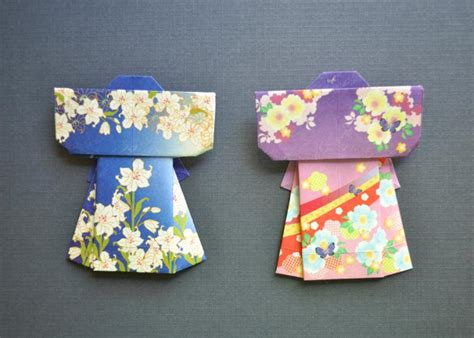 Origami Kimono - origami kimono set blue and purple umeorigami