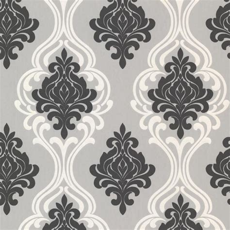 indiana black damask wallpaper swatch