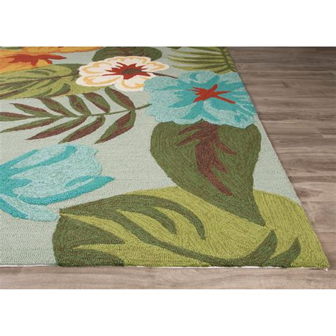 Jaipurliving Coastal Lagoon Green Gray Indoor Outdoor Area Outdoor Rugs