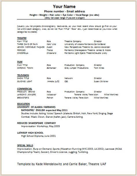 Theatre Resume Template Word by Document Templates Acting Resume Format