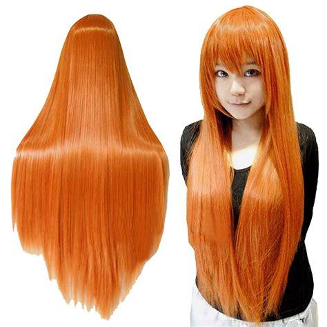 buy cheap new womens cut popular long orange wig buy cheap long orange wig lots