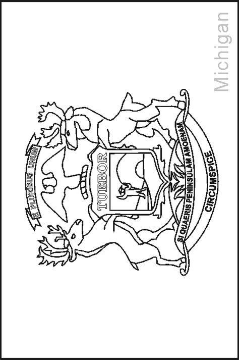 michigan state flag coloring page coloring home