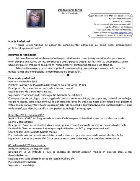 Modelo Curriculum Vitae Psicologo Clinico Curriculum Vitae Actualizado 16 Ene13