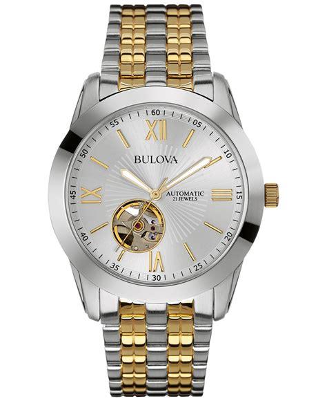 bulova s automatic two tone stainless steel bracelet