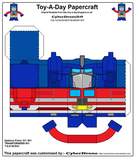 toy a day cd02 optimus prime g1 papercraft by