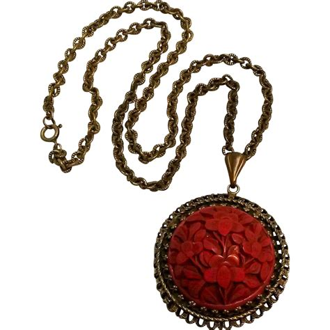 cinnabar pendant necklace from rubylane sold on ruby