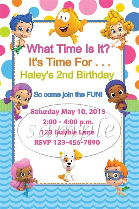 bubble guppies birthday party invitations by