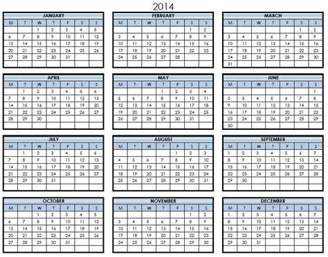 2014 printable pdf one page calendar yearly 2014 one