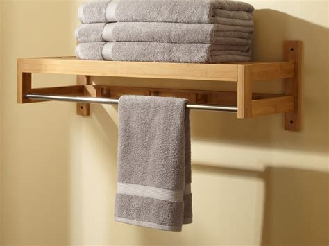 Towel Shelves Bathroom Wood Shelf With Towel Bar Home Ideas