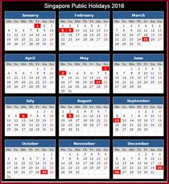 South Korea Kalendar 2018 2016 Singapore Holidays Calendar