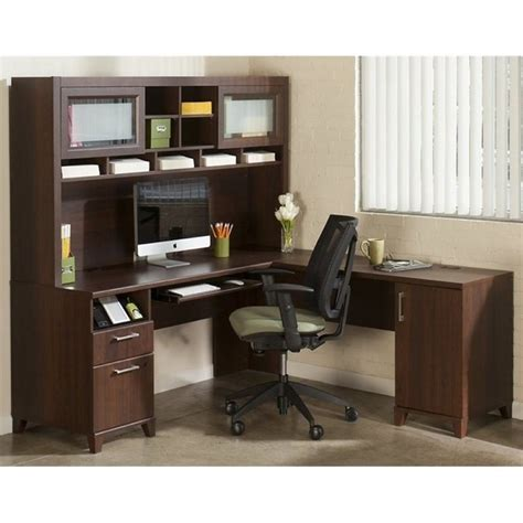 Desks With Hutch For Home Office Bush Achieve L Shape Home Office Desk With Hutch In Sweet Cherry Ach001sc