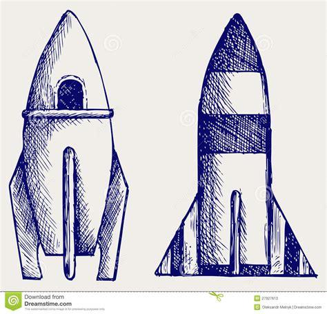 doodle rocket retro rocket doodle style stock photos image 27927613