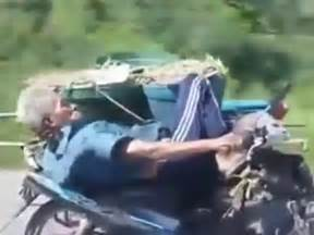 Lustige Motorrad Filme Videos by Motorrad Sofa Thailand Alter Mann Extrem Gelassen